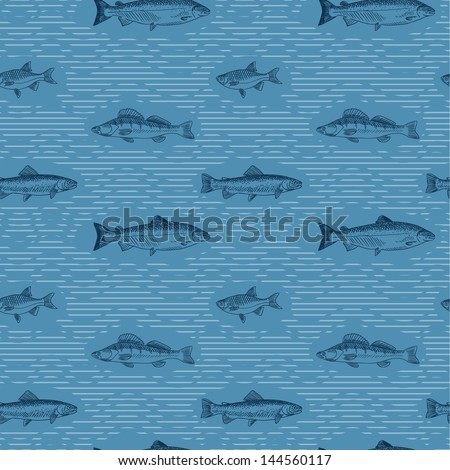 Seamless pattern with fishes on blue background - stock vector