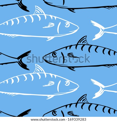 Seamless pattern with fishes, vector illustration - stock vector