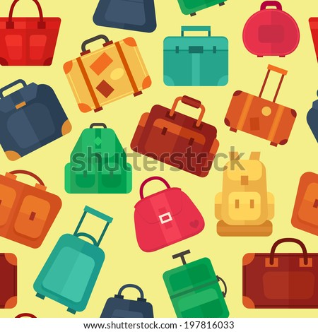 Seamless pattern with flat colorful luggage - stock vector