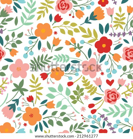 Seamless pattern with floral bouquets. Can be used for desktop wallpaper or frame for a wall hanging or poster, surface textures, web page backgrounds, textile and more. - stock vector