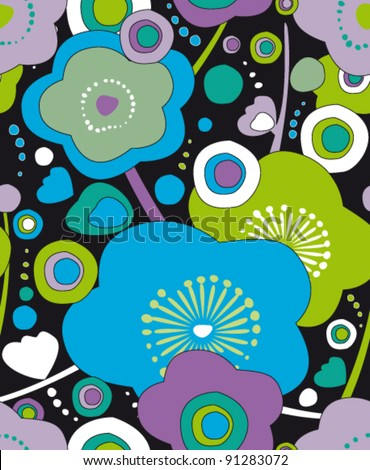 seamless pattern with flower in japan style, texture - stock vector