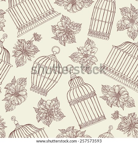 Seamless pattern with flowers and bird cages. Dahlias. - stock vector