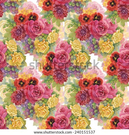 Seamless pattern with flowers and grape on white background vector illustration - stock vector