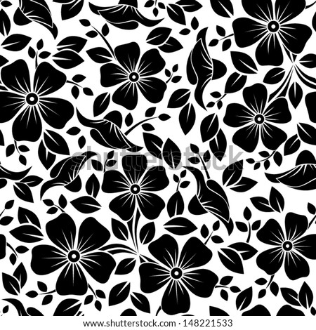 Seamless pattern with flowers and leaves. Vector illustration. - stock vector