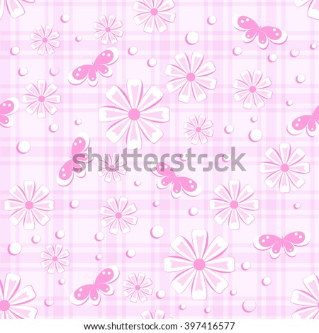 seamless pattern with  flowers, butterfly and different dots on pink plaid background, vector illustration - stock vector