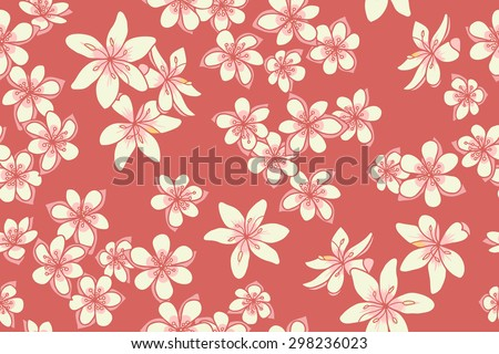 Seamless pattern with flowers on red background. Vector illustration - stock vector