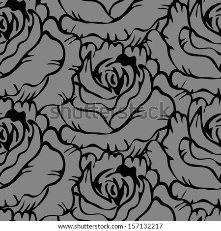 Seamless pattern with flowers roses, vector floral illustration in vintage style - stock vector