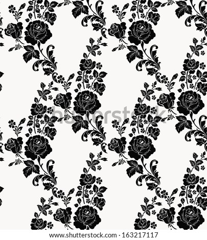 Seamless pattern with flowers roses, vector floral illustration in vintage style,damask pattern seamless. - stock vector