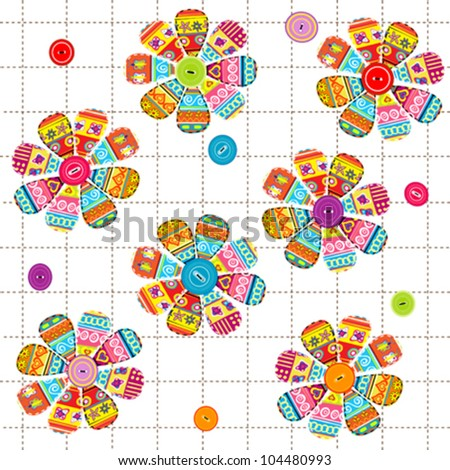 Seamless pattern with flowers with ethnic motifs - stock vector