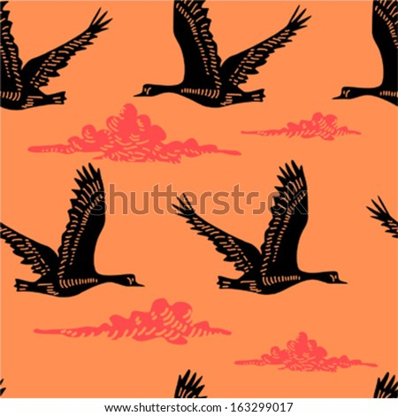 Seamless pattern with flying geese - stock vector
