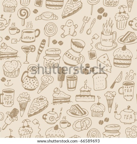 Seamless pattern with food - stock vector