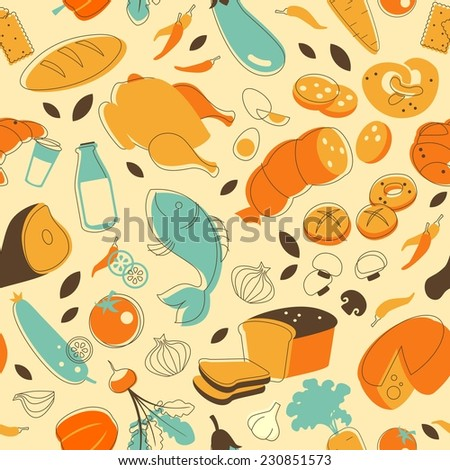 Seamless pattern with food elements in retro doodle style - stock vector