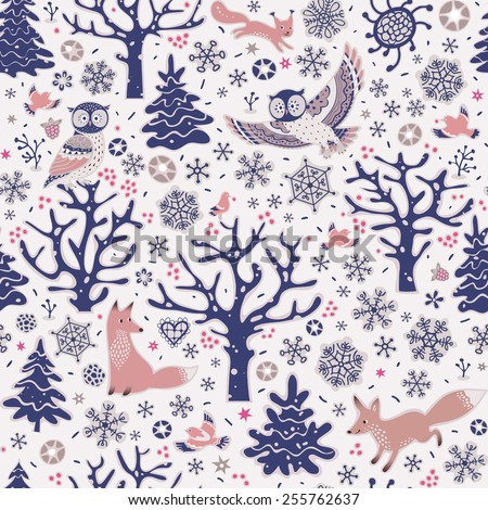 Seamless pattern with forest animals. Owls, foxes, squirrel, birds, trees and snowflakes. Winter background. - stock vector