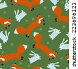 Seamless pattern with fox hunting of rabbits on a green background with dots - stock vector