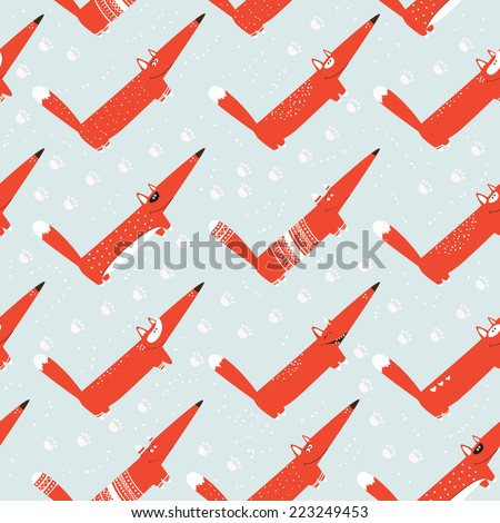 Seamless pattern with fox in the snow, footprints. Christmas, New Year's drawing. Winter theme. Background for fabric, paper, greetings, postcards. Doodle design.  - stock vector