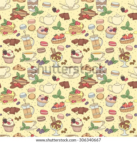 Seamless pattern with fresh desserts, coffee, tea, berry, ice cream, cupcakes and chocolate. Vector illustration  - stock vector