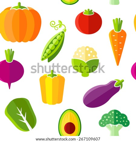Seamless pattern with fresh organic vegetables. The pattern can be repeated or tiled without any visible seams. - stock vector