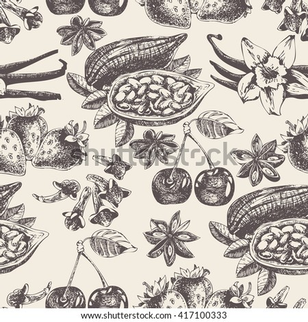 Seamless pattern with fruit and spices in vintage style. Vector background with vanilla, cherry, strawberry, cocoa and anise for scrapbook, poster, postcard.  - stock vector
