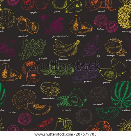 Seamless pattern with fruit on a dark background. Vector illustration for your design - stock vector