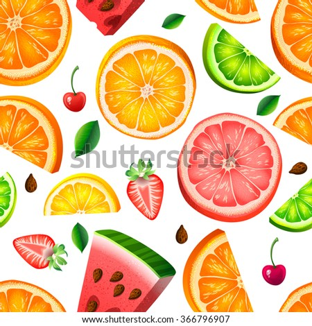 Seamless pattern with fruit orange, lemon, watermelon, strawberry, cherry - stock vector