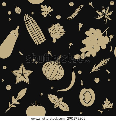 Seamless pattern with fruits and vegetables in pale brown color on black background. - stock vector