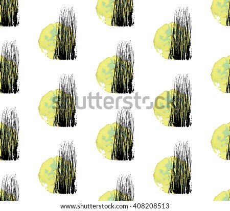 Seamless Pattern with Full Moon and Scary Leafless Tree Silhouettes. Abstract Halloween Vector Illustration. - stock vector