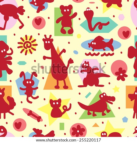 Seamless pattern with funny cartoon animal silhouettes and geometric shapes. Kids wallpaper. Colorful background for kids - stock vector