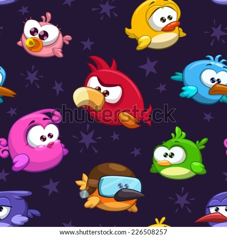 Seamless pattern with funny cartoon birds - stock vector