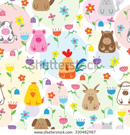 seamless pattern with funny farm animals - stock vector