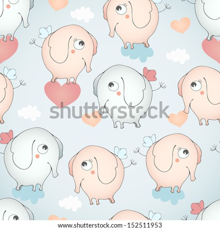 Seamless pattern with funny flying elephants. - stock vector
