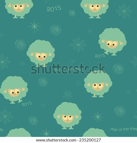 Seamless pattern with funny sheep, vector cristmas illustration - stock vector