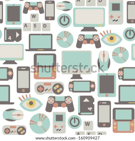 seamless pattern with game icons - stock vector