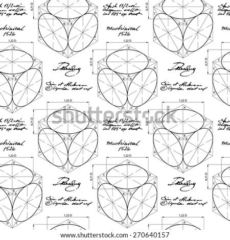 Seamless pattern with geometric shapes of cube and elipses. Vector illustration. Engineering design. - stock vector