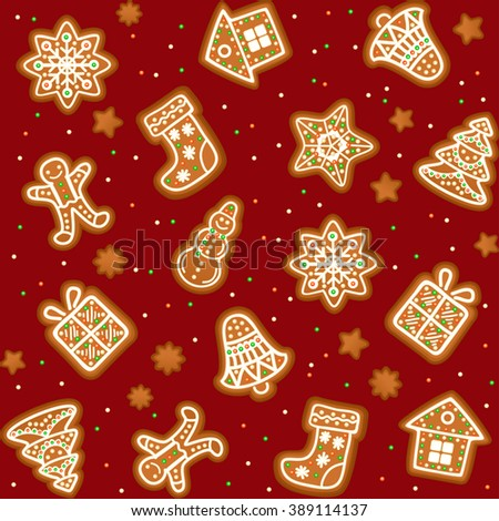 Seamless pattern with Gingerbread Christmas cookies decorated icing. Holiday cookie in shape of Christmas Xmas tree, star, bell, sock, gingerbread men, snowflake, snowman and gift. Vector illustration - stock vector