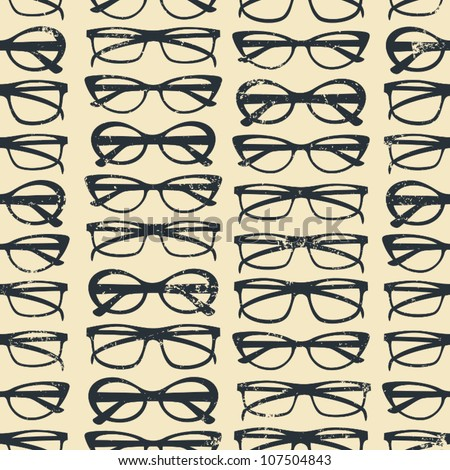 Seamless pattern with glasses in vintage style. - stock vector