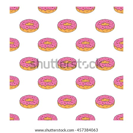 Seamless pattern with glazed donuts. Pink colors on white background. Vector illustration - stock vector