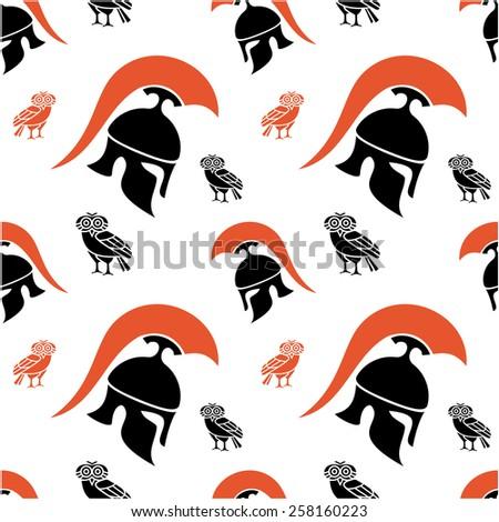 Seamless pattern with Greek helmet silhouette - stock vector