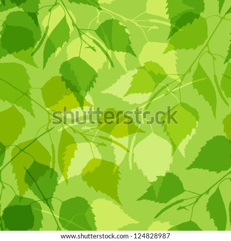 Seamless pattern with green birch leaves. - stock vector