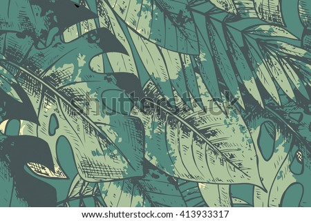 Seamless pattern with green hand drawn tropical plants with watercolor texture. Summer hawaiian vector background. - stock vector