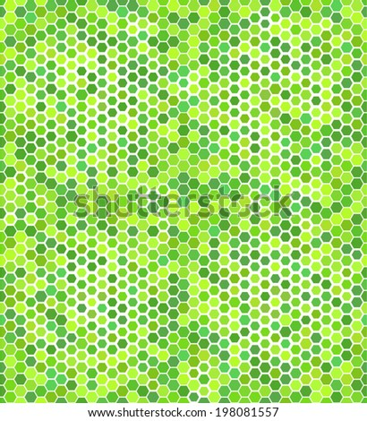 Seamless pattern with green hexagons - stock vector