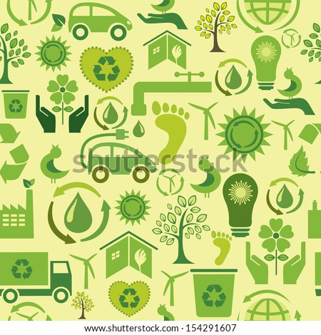 Seamless pattern with green icons - stock vector