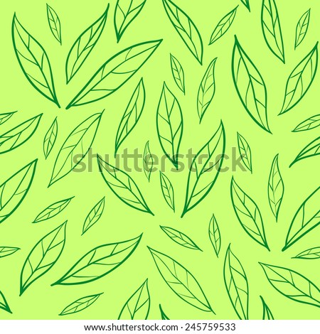 Seamless pattern with green leaves - stock vector