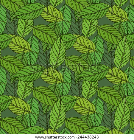 Seamless pattern with green leaves. Vector repeating texture. Abstract background for your presentation. Eco. - stock vector