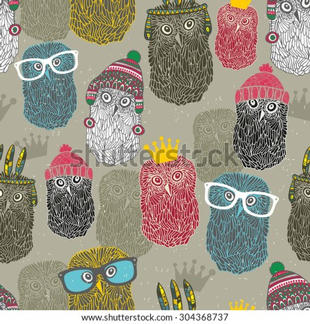 Seamless pattern with group of owls for hipster background. Vintage vector illustration. - stock vector