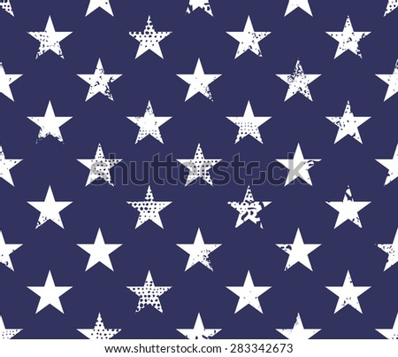 Seamless pattern with grunge stars on blue background - stock vector
