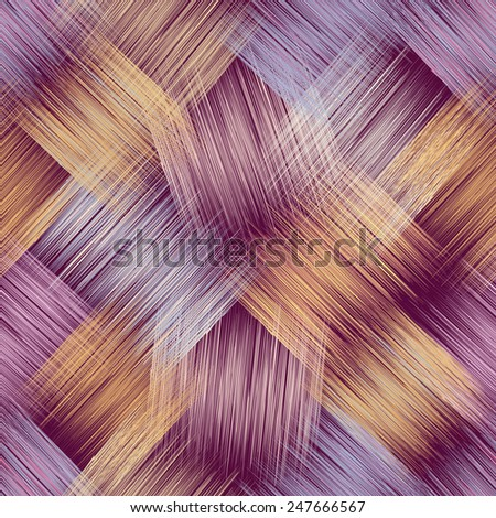 Seamless pattern with grunge striped crossed colorful elements on purple background - stock vector