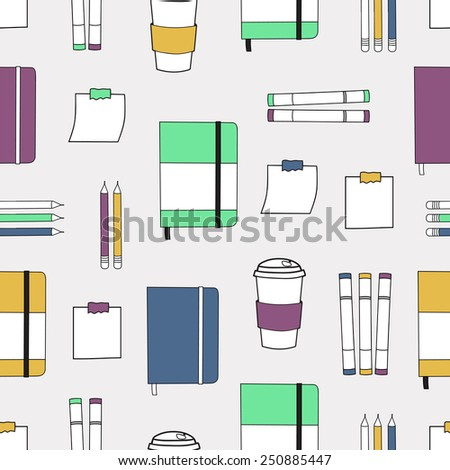 Seamless pattern with hand drawn colorful notebooks and creative symbols. Background with doodle office icons. - stock vector