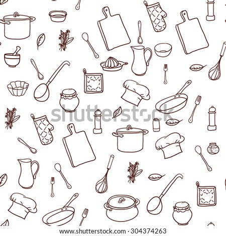 Seamless pattern with hand drawn cookware on the lined paper. Kitchen background. Retro wallpaper with doodle kitchen equipments. Vector illustration. - stock vector