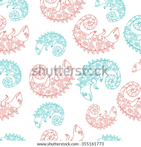 Seamless pattern with Hand drawn doodle style set of chameleon and snail with mechanic details inside. Robot animals. Red and Green sketch. Kids cartoon style. Vector stock illustration. Coloring book - stock vector