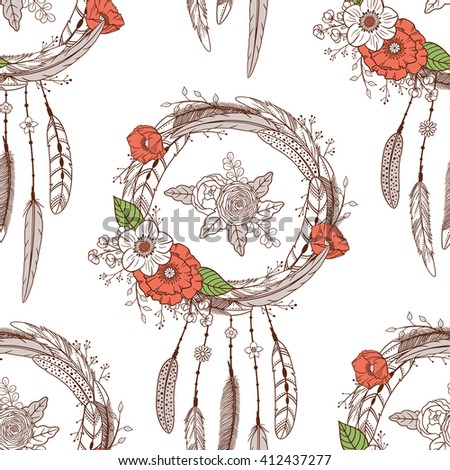 Seamless pattern with hand drawn dream catchers and flowers. Boho style. Pattern for textile, packaging, greeting cards, invitations, wedding decoration. Bohemian collection. Vector illustration - stock vector